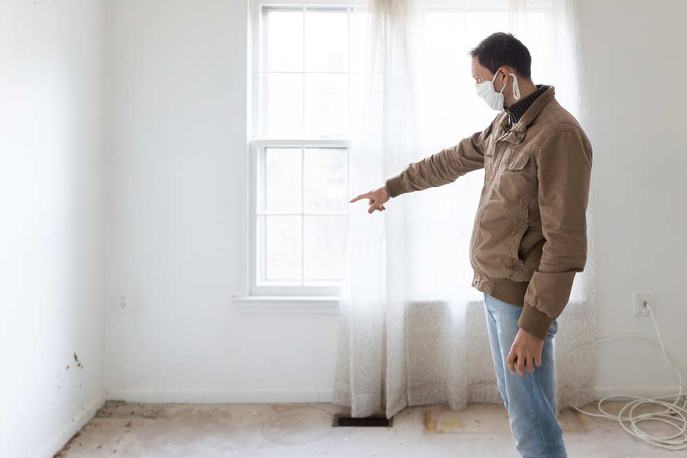 man pointing our mould area on carpet
